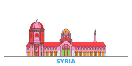 Syria cityscape line vector. Travel flat city landmark, oultine illustration, line world icons Vectores