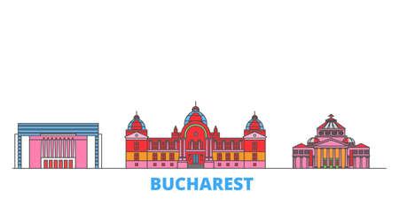 Romania, Bucharest cityscape line vector. Travel flat city landmark, oultine illustration, line world icons 向量圖像