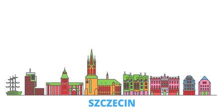 Poland, Szczecin cityscape line vector. Travel flat city landmark, oultine illustration, line world icons Illustration
