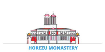 Romania, Horezu Monastery cityscape line vector. Travel flat city landmark, oultine illustration, line world icons