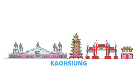 Taiwan, Kaohsiung cityscape line vector. Travel flat city landmark, oultine illustration, line world icons