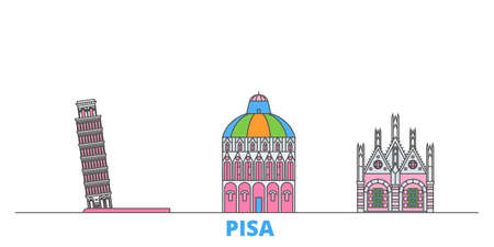 Italy, Pisa cityscape line vector. Travel flat city landmark, oultine illustration, line world icons 矢量图像