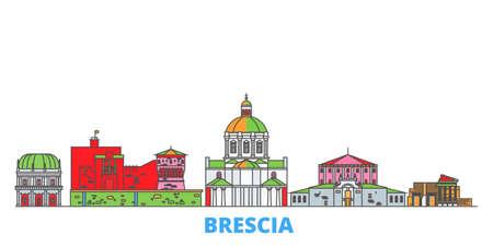 Italy, Brescia cityscape line vector. Travel flat city landmark, oultine illustration, line world icons