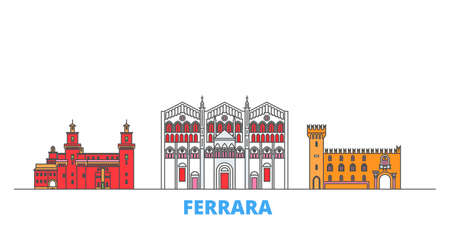 Italy, Ferrara cityscape line vector. Travel flat city landmark, oultine illustration, line world icons