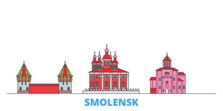 Russia, Smolensk cityscape line vector. Travel flat city landmark, oultine illustration, line world icons Çizim