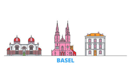 Switzerland, Basel cityscape line vector. Travel flat city landmark, oultine illustration, line world icons