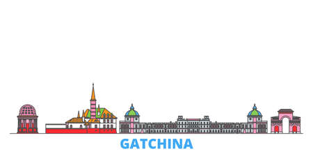 Russia, Gatchina cityscape line vector. Travel flat city landmark, oultine illustration, line world icons