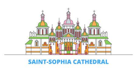 Ukraine, Kiev, Saint Sophia Cathedral cityscape line vector. Travel flat city landmark, oultine illustration, line world icons