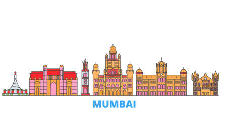 India, Mumbai 2 cityscape line vector. Travel flat city landmark, oultine illustration, line world icons