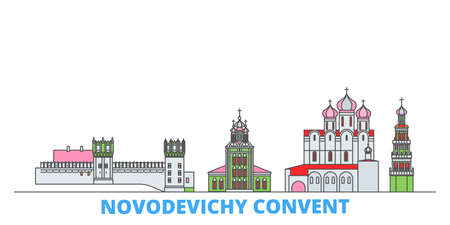 Russia, Moscow, Novodevichy Convent cityscape line vector. Travel flat city landmark, oultine illustration, line world icons Çizim