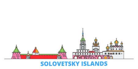 Russia, Solovetsky Islands cityscape line vector. Travel flat city landmark, oultine illustration, line world icons 일러스트