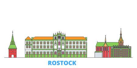 Germany, Rostock cityscape line vector. Travel flat city landmark, oultine illustration, line world icons