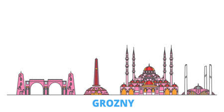 Russia, Grozny cityscape line vector. Travel flat city landmark, oultine illustration, line world icons