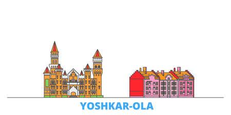 Russia, Yoshkar Ola cityscape line vector. Travel flat city landmark, oultine illustration, line world icons