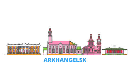 Russia, Arkhangelsk cityscape line vector. Travel flat city landmark, oultine illustration, line world icons 일러스트