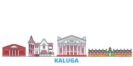 Russia, Kaluga cityscape line vector. Travel flat city landmark, oultine illustration, line world icons Illustration