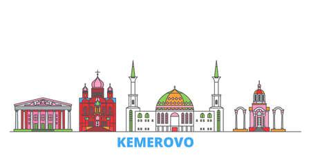 Russia, Kemerovo cityscape line vector. Travel flat city landmark, oultine illustration, line world icons Vettoriali