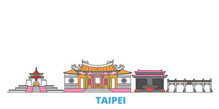 Taiwan, Taipei cityscape line vector. Travel flat city landmark, oultine illustration, line world icons