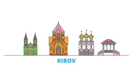 Russia, Kirov cityscape line vector. Travel flat city landmark, oultine illustration, line world icons