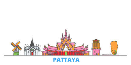 Thailand, Pattaya cityscape line vector. Travel flat city landmark, oultine illustration, line world icons Illustration