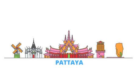 Thailand, Pattaya cityscape line vector. Travel flat city landmark, oultine illustration, line world icons 일러스트