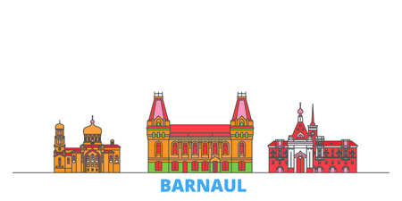 Russia, Barnaul cityscape line vector. Travel flat city landmark, oultine illustration, line world icons 矢量图像