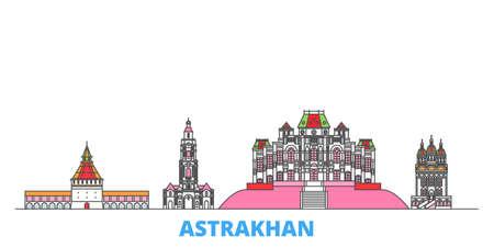 Russia, Astrakhan cityscape line vector. Travel flat city landmark, oultine illustration, line world icons