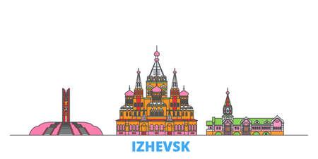 Russia, Izhevsk cityscape line vector. Travel flat city landmark, oultine illustration, line world icons