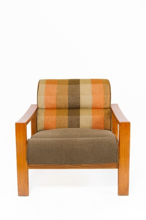 checker: Colorful upholstery wooden armchair on white background
