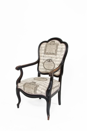 Beautiful old note textile padded chair on white background