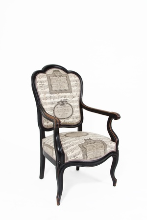 padded: Beautiful old note textile padded chair on white background