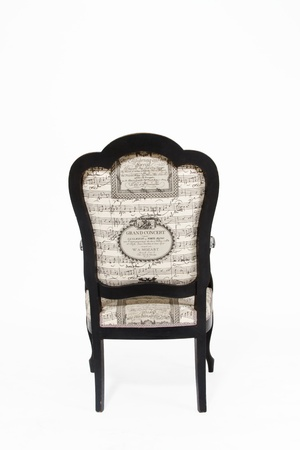 vintage chair: Beautiful old note textile padded chair on white background