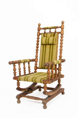 Old rocking chair on white background