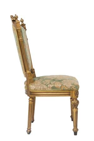 Luxury golden vintage chair on white background