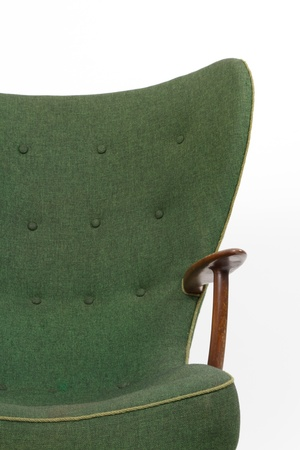 Green retro armchair on white background photo