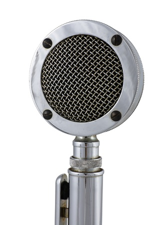 Old microphone on white background photo