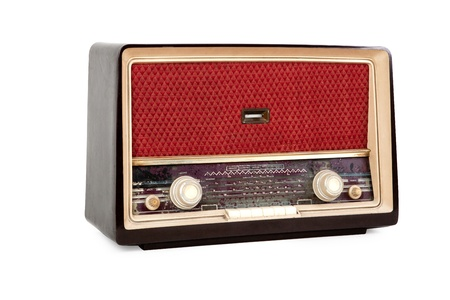 Old brown radio on white background