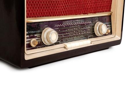 transistor: Old brown radio on white background