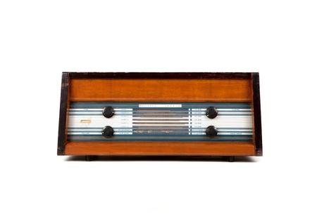 Retro brown radio on white background Stock Photo