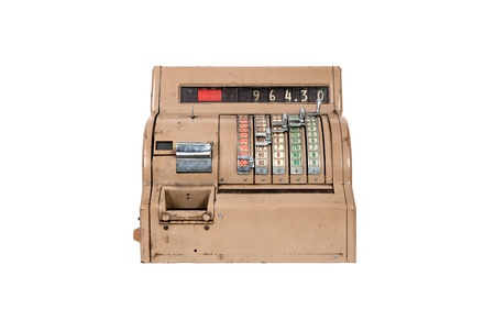 economic revival: Old-time cash register Isolated on white background Stock Photo