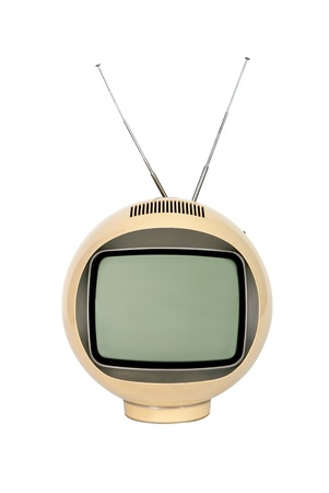 Antique  television broadcasting on white background Stock Photo