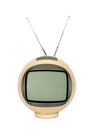Antique  television broadcasting on white background Stock Photo