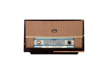 Analog wooden brown radio on white background Stock Photo - 12899317