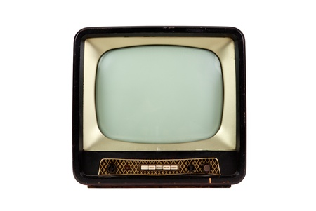 Retro television on white background, front view photo