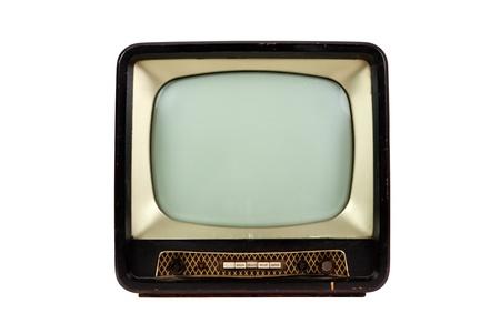 Retro television on white background, front view photo