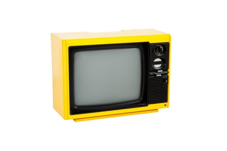 Old yellow television on white background , front view Stock Photo
