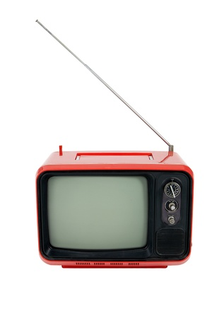 tele: Old red television  on white background , front view Stock Photo