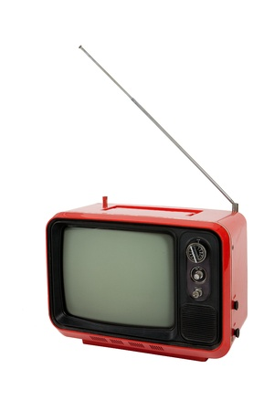 Old red television  on white background , front view Stock Photo