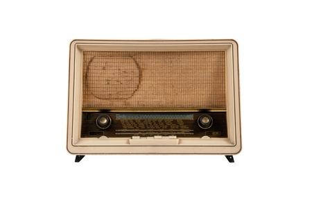 Old  wooden brown radio on white background , front view