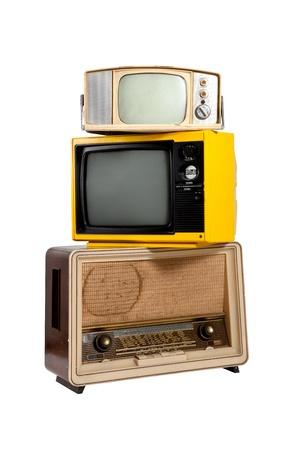 Vintage eletronic group on white background photo